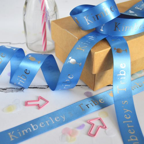 25mm Personalised Hen Party Ribbon in Cornflower with Metallic Silver Print