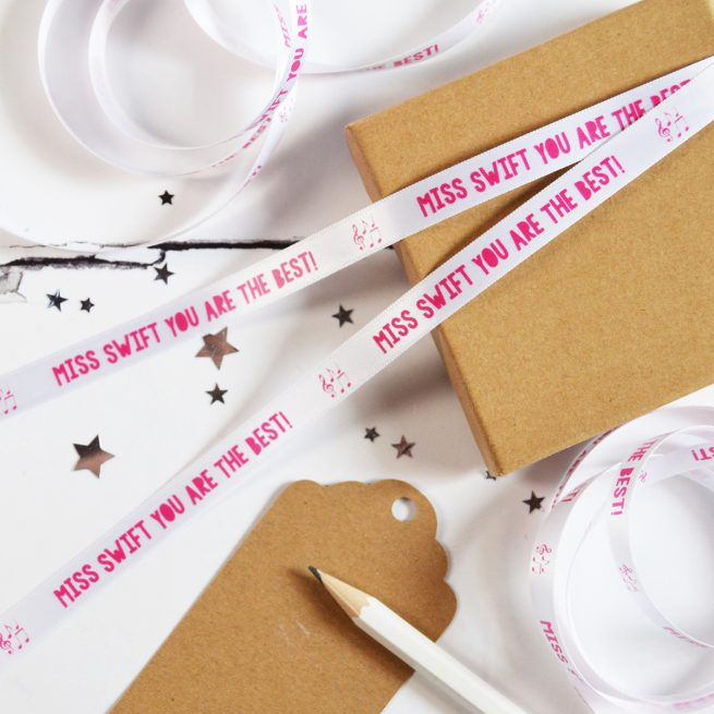 10mm Personalised Thank You Teacher Ribbon in White with Pink Print