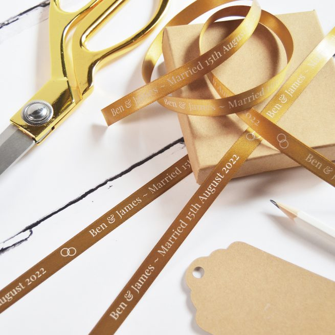 Antique Gold Ribbon for a Wedding Gift Personalised with White Print