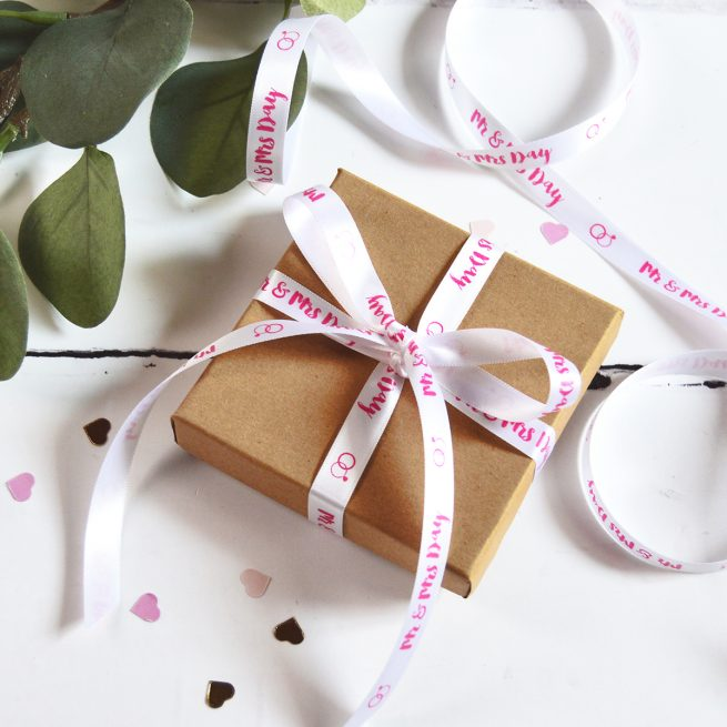 White Ribbon for a Wedding Gift Personalised with Pink Print