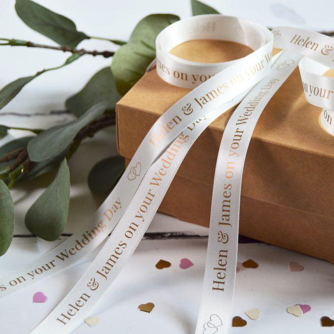 White Wedding Gift Ribbon Personalised with Metallic Rose Gold Print