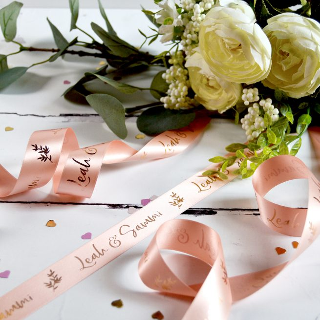 25mm Personalised Wedding Ribbon in Blush with Metallic Rose Gold Print