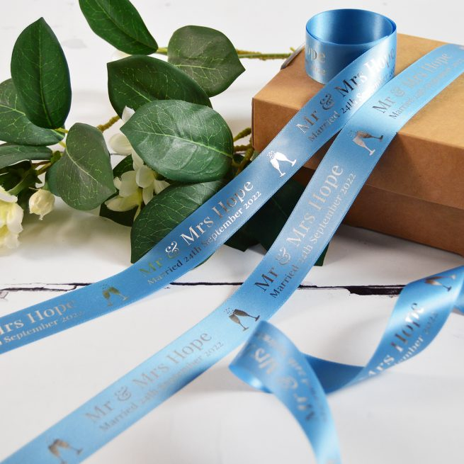 Cornflower Blue Wedding Gift Ribbon Personalised with Metallic Silver Print